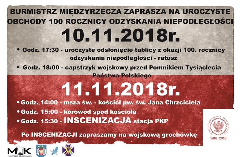 Ilustracja do informacji: Zapraszamy na uroczyste obchody 100. rocznicy Odzyskania Niepodległości