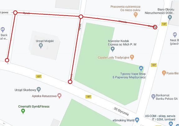 Ilustracja do informacji: Uwaga: Zmiana organizacji ruchu wokół ratusza i na ul. Wesołej
