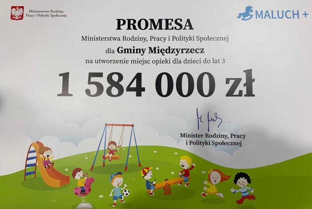 Ilustracja do informacji: Do końca roku przy ul. Zachodniej powstanie żłobek. Burmistrz odebrał promesę na dotację!
