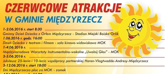 Ilustracja do informacji: Zapraszamy na czerwcowe atrakcje w gminie Międzyrzecz